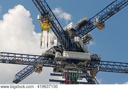 Castione, Switzerland - 26th April 2021 : Closeup Of Energy Vault Crane Tower In Switzerland. Energy