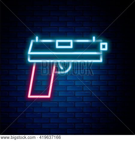 Glowing Neon Line Pistol Or Gun Icon Isolated On Brick Wall Background. Police Or Military Handgun.