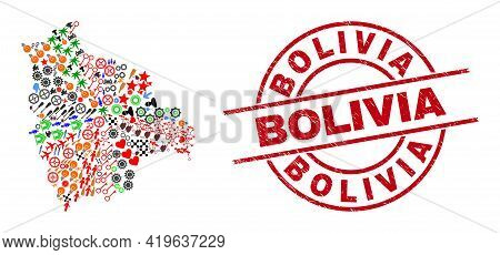Bolivia Map Mosaic And Dirty Bolivia Red Round Badge. Bolivia Badge Uses Vector Lines And Arcs. Boli