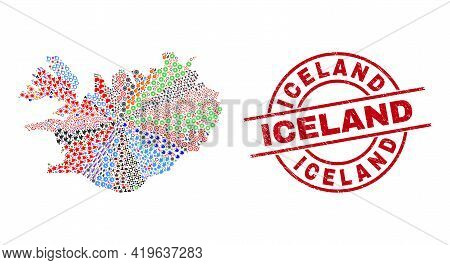 Iceland Map Mosaic And Unclean Iceland Red Circle Stamp Print. Iceland Stamp Uses Vector Lines And A