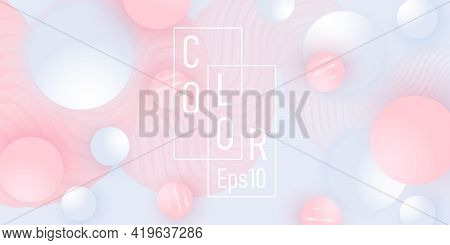 Abstract Design. Fluid Pattern. Pink, White Balls.