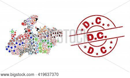 Madhya Pradesh State Map Mosaic And Dirty D.c. Red Circle Stamp Print. D.c. Stamp Uses Vector Lines