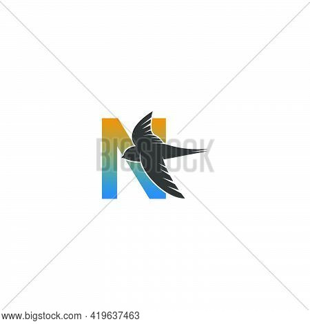 Letter N Logo With Swift Bird Icon Design Vector Template