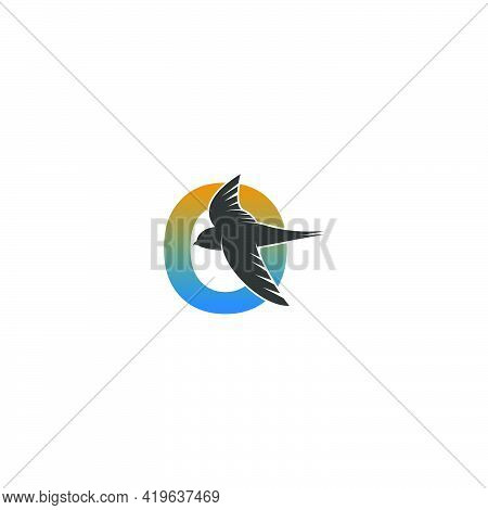 Letter O Logo With Swift Bird Icon Design Vector Template