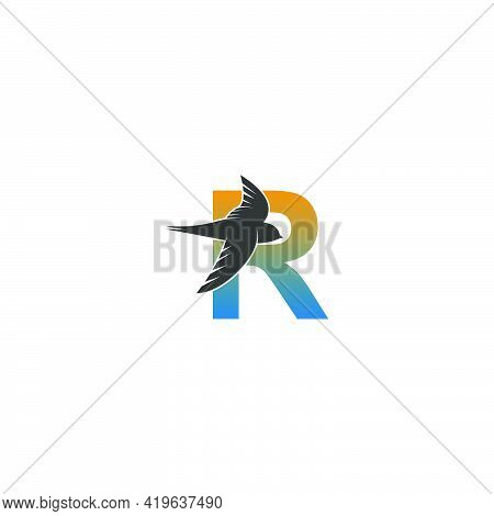 Letter R Logo With Swift Bird Icon Design Vector Template