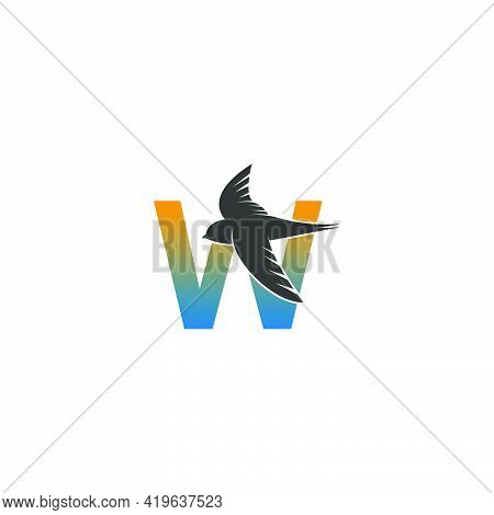 Letter W Logo With Swift Bird Icon Design Vector Template