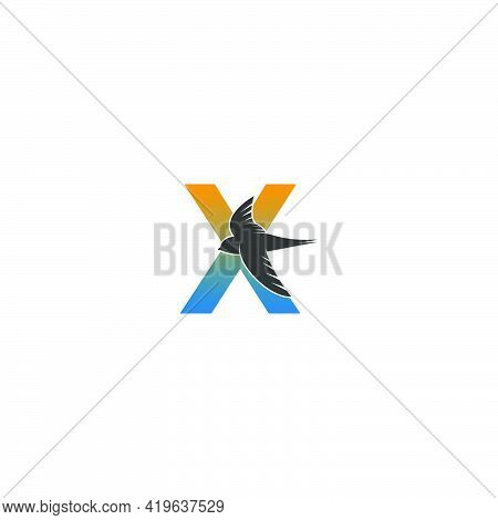 Letter X Logo With Swift Bird Icon Design Vector Template