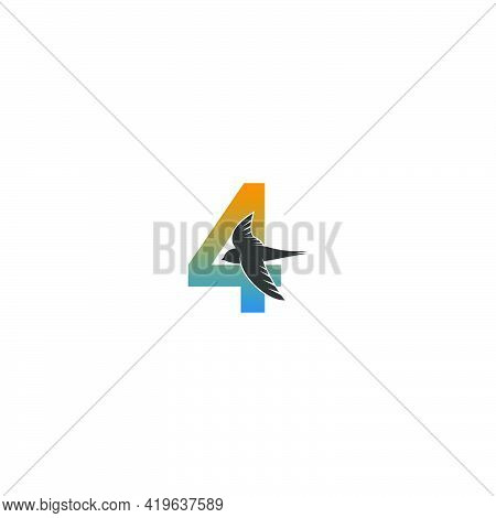 Number 4 Logo With Swift Bird Icon Design Vector Template