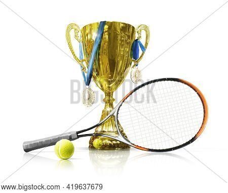 Tennis Championship Trophy. Golden Champion Cup Isolated On White Background. Sport Award. Victory C