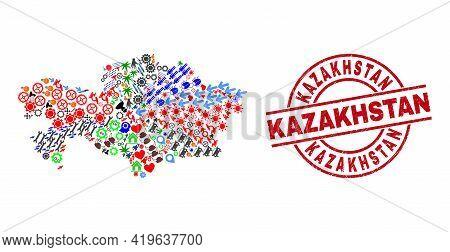 Kazakhstan Map Collage And Grunge Kazakhstan Red Circle Stamp Seal. Kazakhstan Badge Uses Vector Lin