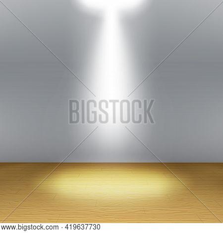 Empty Room, Grey Wall With Spotlight, Wooden Floor. Vector.