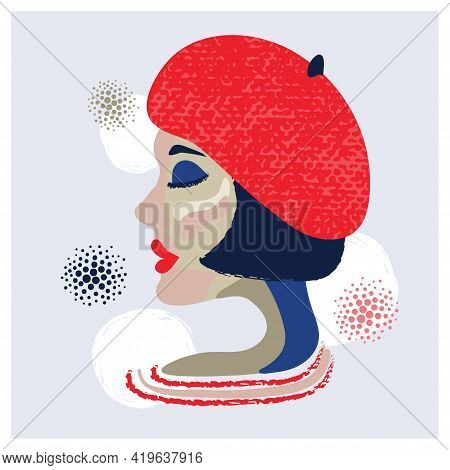 French Woman Abstract Portrait. Vector Illustration Of Girl In Red Beret.