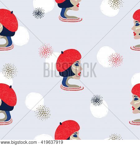 Seamless Pattern With Portrait Of French Woman. Vector Abstract Girl In Red Beret Background