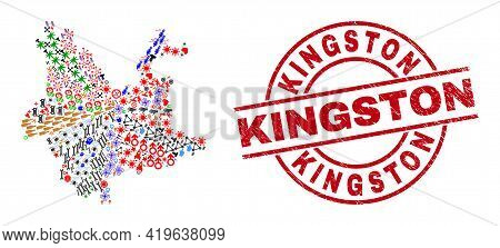 Yunnan Province Map Mosaic And Rubber Kingston Red Round Seal. Kingston Seal Uses Vector Lines And A