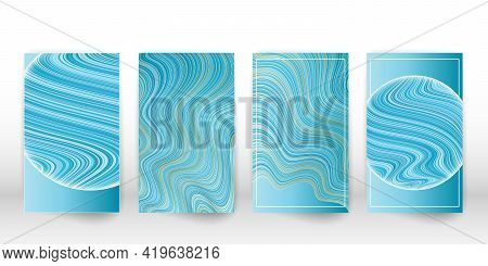 Fluid Blue Poster Template. Wavy Lines Cover Flyer Set. Vector.