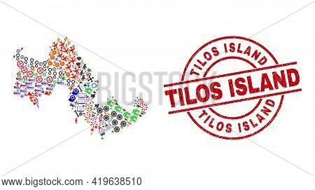 Tilos Island Map Collage And Grunge Tilos Island Red Round Stamp Print. Tilos Island Badge Uses Vect