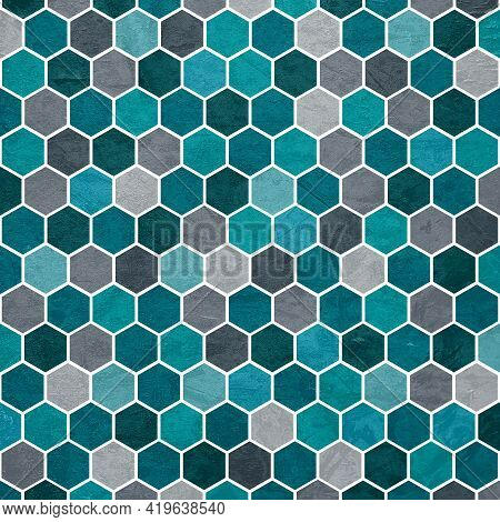 Hexagonal Textured Pattern Shades And Tones Of Blue