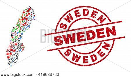 Sweden Map Collage And Textured Sweden Red Circle Stamp Seal. Sweden Stamp Uses Vector Lines And Arc