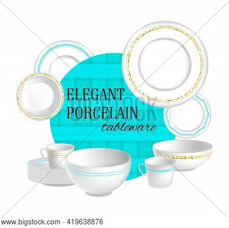 A Vector 3d Set White Porcelain Different Dishes
