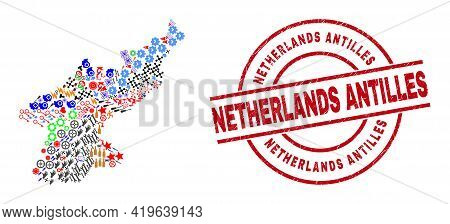 North Korea Map Collage And Grunge Netherlands Antilles Red Round Badge. Netherlands Antilles Badge