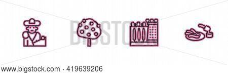 Set Line Bullfight, Matador, Dali Museum, Orange Tree And Churros And Chocolate Icon. Vector