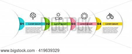 Set Line Orange Tree, Beach, Sun And Castanets. Business Infographic Template. Vector