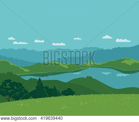 Forest On Mountains River Landscape Background Vector Poster. Bright Sunny Day In Green Mountain Cal