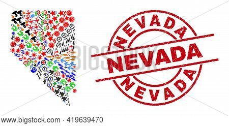 Nevada State Map Collage And Unclean Nevada Red Circle Stamp. Nevada Stamp Uses Vector Lines And Arc