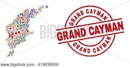 Gotland Island Map Mosaic And Distress Grand Cayman Red Round Badge. Grand Cayman Badge Uses Vector