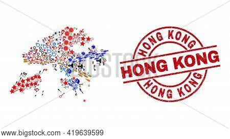 Hong Kong Map Collage And Rubber Hong Kong Red Round Stamp Imitation. Hong Kong Seal Uses Vector Lin