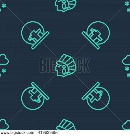 Set Line Native American Indian, Montreal Biosphere And Cloud With Snow On Seamless Pattern. Vector