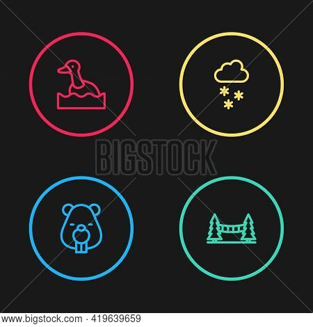 Set Line Beaver Animal, Capilano Suspension Bridge, Cloud With Snow And Flying Duck Icon. Vector