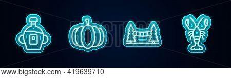 Set Line Maple Syrup, Pumpkin, Capilano Suspension Bridge And Lobster. Glowing Neon Icon. Vector