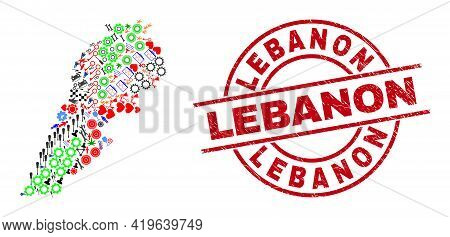 Lebanon Map Collage And Scratched Lebanon Red Round Seal. Lebanon Seal Uses Vector Lines And Arcs. L
