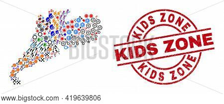 Guangdong Province Map Mosaic And Scratched Kids Zone Red Circle Stamp. Kids Zone Stamp Uses Vector