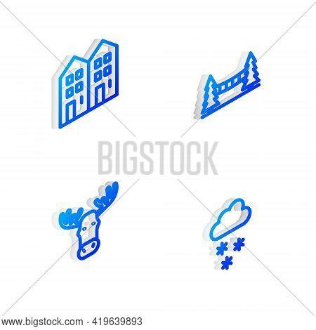 Set Isometric Line Capilano Suspension Bridge, House, Moose Head With Horns And Cloud Snow Icon. Vec