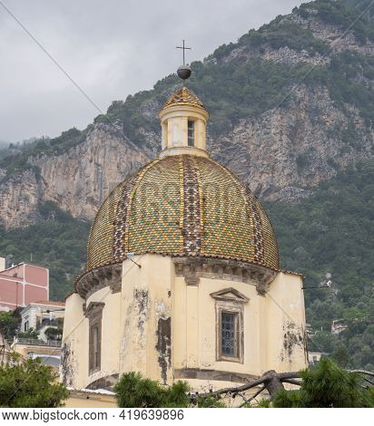 Close Up Of The Church Of Santa Maria Assunta In Positano