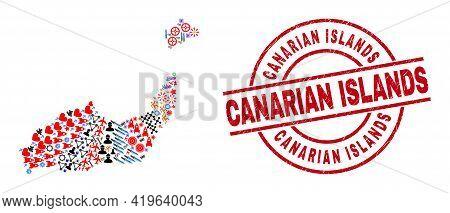 Inagua Islands Map Mosaic And Distress Canarian Islands Red Round Stamp Seal. Canarian Islands Stamp