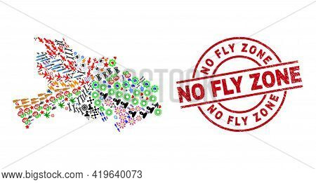 Hubei Province Map Mosaic And Unclean No Fly Zone Red Round Stamp Seal. No Fly Zone Stamp Uses Vecto