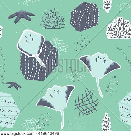 Sea Horses, Sharks, Fishing Net And Waves Seamless Patterns. Vector Cartoon Set Of Underwater Ocean,