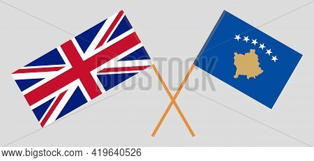 Crossed Flags Of Kosovo And The Uk