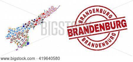 Andhra Pradesh State Map Collage And Textured Brandenburg Red Round Seal. Brandenburg Seal Uses Vect