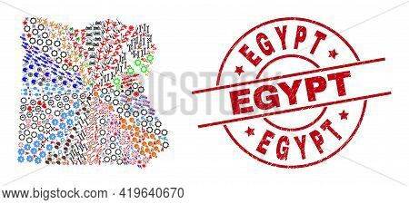 Egypt Map Collage And Scratched Egypt Red Circle Seal. Egypt Seal Uses Vector Lines And Arcs. Egypt