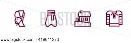 Set Line Ukrainian Cossack, House, Cossack Pants And Embroidered Shirt Icon. Vector
