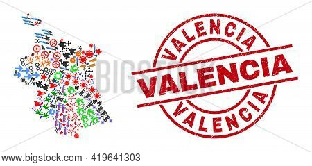 Valencia Province Map Mosaic And Textured Valencia Red Circle Stamp Seal. Valencia Stamp Uses Vector
