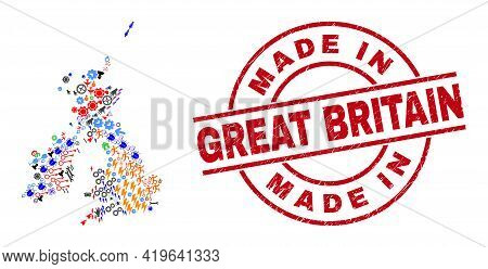 Great Britain And Ireland Map Mosaic And Scratched Made In Great Britain Red Round Stamp Imitation.