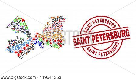 Leningrad Region Map Mosaic And Grunge Saint Petersburg Red Round Stamp Imitation. Saint Petersburg