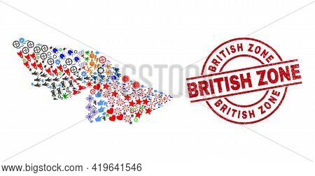 Acre State Map Mosaic And Unclean British Zone Red Round Seal. British Zone Seal Uses Vector Lines A