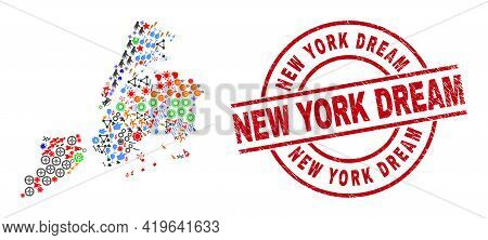 New York City Map Collage And Dirty New York Dream Red Round Badge. New York Dream Seal Uses Vector