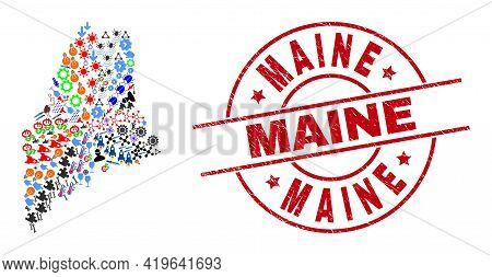 Maine State Map Mosaic And Distress Maine Red Round Seal. Maine Seal Uses Vector Lines And Arcs. Mai